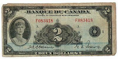 1935 Banque Du Canada $2 Two Dollar Note French Osborne/towers