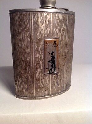 Antique Art Deco EVANS NICKEL SILVER  Whiskey Hip FLASK