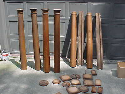 6 Old Oak Columns Posts Pillars Architectural with Cap Pieces & Some Bases