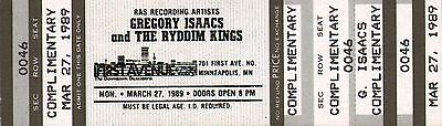 GREGORY ISAACS - Unused Concert Ticket First Avenue Minneapolis 1989