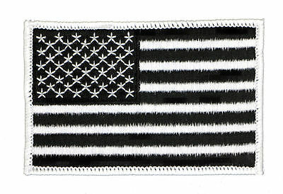 "AMERICAN FLAG EMBROIDERED PATCH (BLACK AND WHITE) 3.5"" x 2.25"" US USA (BW-9)"