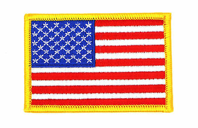 """US FLAG PATCH GOLD BORDER EMBROIDERED,FLAG PATCH United States 3"""" x 2""""(SYAF-604)"""