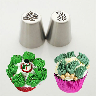 2Pcs Christmas Tree Icing Piping Tips Russian Leaf Nozzle Cupcake Pastry Baking