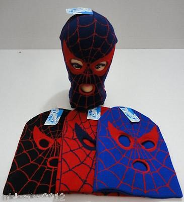 Wholesale 12pc Childrens Assorted Spider Web Eyes Winter Knit 3 Hole Ski Mask