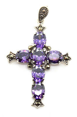 """925 Sterling Silver Cross Pendant Marcasite CZ Amethyst Stones 2"""" Gift Boxed New"""