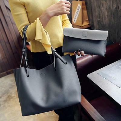 2PCS Women PU Leather Soft Shoulder Bag Tote Purse Handbag Crossbody Satchel LG