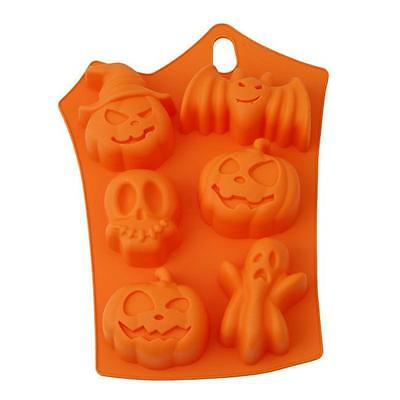 6 Cavity Halloween Silicone Cake Mold Decor Ice Cube Soap Chocolate Baking Mould
