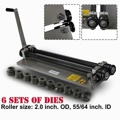 Sheet Metal Bead Roller Steel Gear Drive Bench Mount 18-Gauge Capacity W/ 6 Die