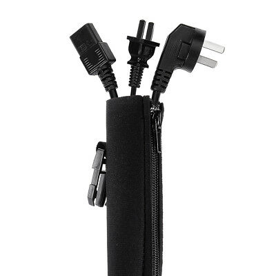 4pcs Neoprene Cable Management Sleeves with Zipper Buckle Black 50cm Length
