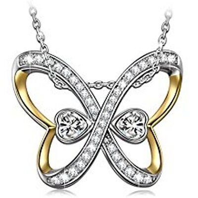 Butterfly Heart Pendant Necklace Infinity Mother Wife Daughter Mom Ninasun Gold