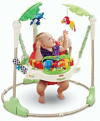 Fisher-Price Rainforest Jumperoo Adjustable Boy Girl Green White Toy Baby Jumper