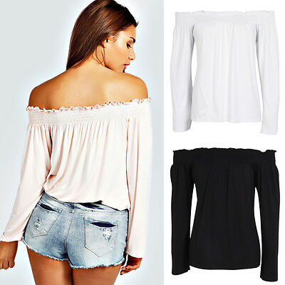 Fashion Women Off The Shoulder Blouse Top Long Sleeve Solid Summer Boho