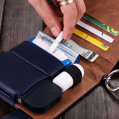 Anti Scratch Full Protective Case for iQOS PU Leather Carrying Case Navy Blue