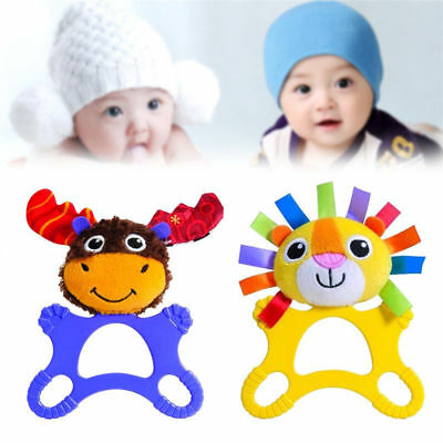 Cute Baby Rubber Natural Chewie Teether Bunny Sensory Toy Baby Teething Ring