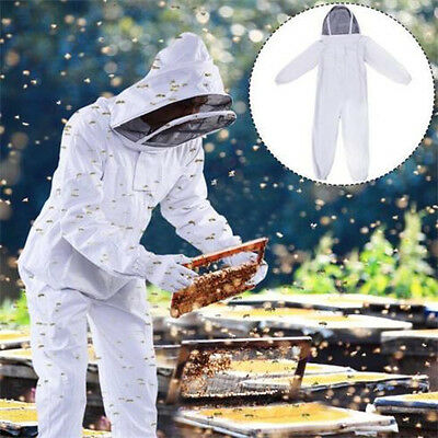 Professional Cotton Full Body Beekeeping Bee Keeping Suit With Veil Hood White ♫