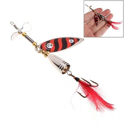 Fishing Spoon Lure Treble 6# Hook Spinner Baits Tackle With Feather 9cm 10.5g