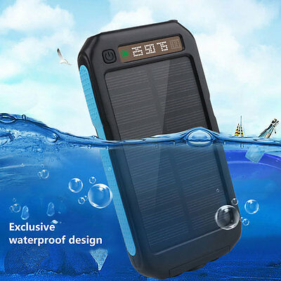 Outdoor Waterproof Solar Power Bank Dual USB Mobile Phone Charger w/ Flashlight