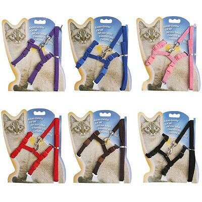 Cat Kitten Adjustable Harness Collar Durable Animal Walking Lead Dog Puppy Pet