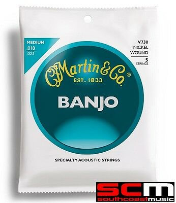 Martin & Co V730 Banjo Nickel Wound String Set Medium Gauge 10-23 Strings