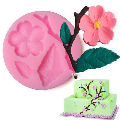 3D Peach Blossom Flower Silicone Mould Fondant Candy Cake Chocolate Silikonform