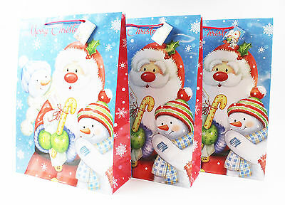 Merry Christmas Gift Bags 3 Pack Extra Large Snowmen Luxury Xmas Present Handles