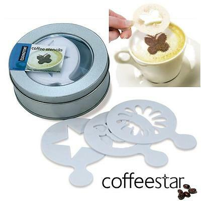 16 x Aerolatte Coffee Stencils for Caffè Latte Cappuccino Macchiato in Gift Tin
