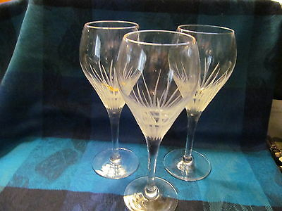 3 Contemporary Pattern Bohemia Crystal Wine Goblets - Vgc