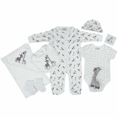 Neutral 7 Piece Layette Clothing & Soft Toy Giraffe Gift Set by Rock A Bye Baby