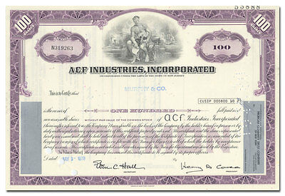 ACF Industries, Incorporated Stock Certificate