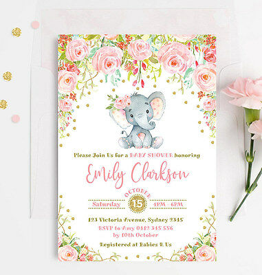 Elephant Baby Girl Shower Invitation Pink Gold Floral Party Invite Rose Confetti