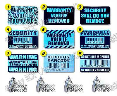 101x WARRANTY VOID SECURITY Hologram Stickers Labels, 30mm x 20mm Silver Barcode