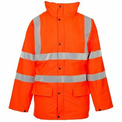 Mens Stand Safe Orange High Vis Safety Work Wear Hoody Hooded Visibility Jacket
