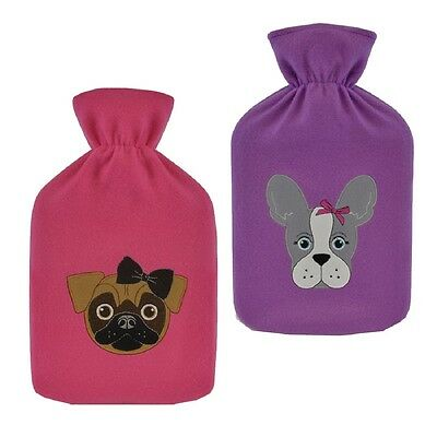 2 Litre Hot Water Bottle with Dog Design Fleece Cover ~ Pug or French Bulldog