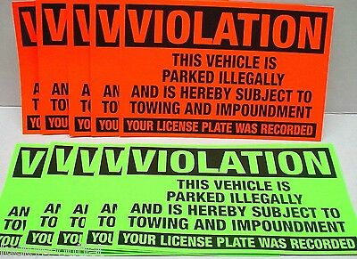 10 Violation This Vehicle Is Illegally Parked No Parking Towing Zone Stickers
