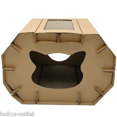 Cat Love Cozy Recycled Corrugated Cardboard Cat House Scratcher Den with Catnip
