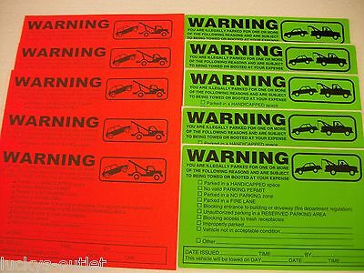 10-Orange & Green Violation No Parking Towing Warning Sign Car Window Stickers
