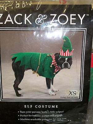 Zack & Zoey Santas Little Helper Elf Pet Dog Puppy Christmas Outfit Costume