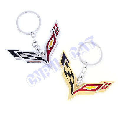 3D Corvette Car Key Ring Key Chain for Chevrolet Corvette C6 C7 ZR1 Z06 Z51 Etc.