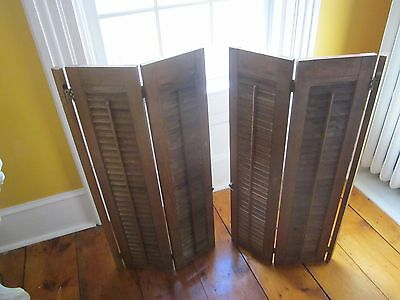Pair of vintage wood shutters interior, brass hinges and knob. 6 panels total.