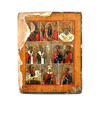 Russian Antique Icon on Wood 7 different scenes 18th-Early 19th Cen. Handpainted