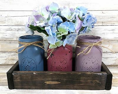 3 Berry Colored Hand Painted Mason Jars, Rustic Decor Wedding Table Centerpiece