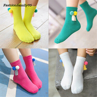 10 Colors Double Ball Tassel Baby Sock Boys Girls Soft Cotton Princess Socks