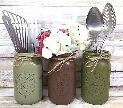 3 Earth Toned Rustic Mason Jar Utensil Holders, Rustic Home Decor Farm Decor