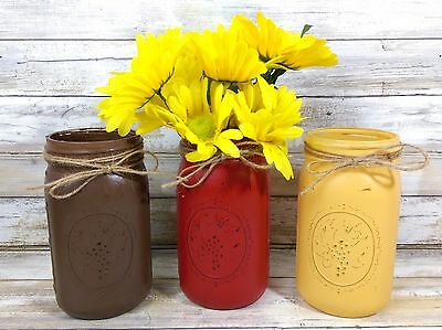 3 Fall Frenzy Colored Rustic Mason Jar Utensil Holders Rustic Home Farm Decor