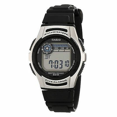 Casio Men's W213-1AVCF Quartz Digital Illuminator Black Resin Band 40mm Watch