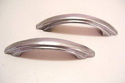 2 Mid Century Chrome Drawer Pulls Cabinet Handles Stepped Sides  Vintage