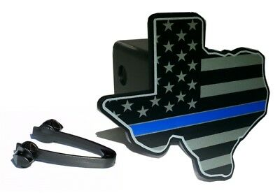 Texas State Shape Thin Blue Line Flag Hitch Cover
