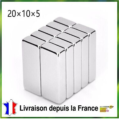 Lot 10 Aimants Puissants De Néodyme 20X10X5mm N52 Force 4kg/aimant Magnetique