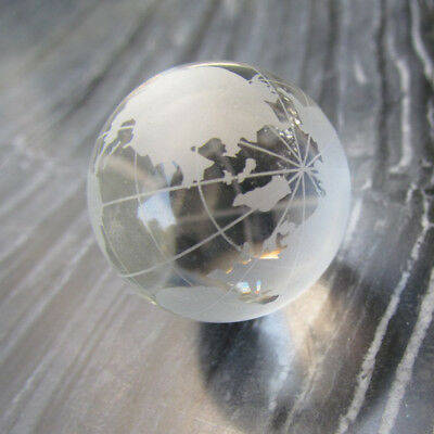 Creative Hanging Pendants Blue Globe World Key Chain Luminescent Crystal Glass
