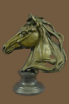 Bronze Sculpture Statue BEAUTIFUL PURE MOUNTED HORSE BUST DECO MARBLE BASE BC